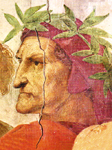 Dante ALIGHIERI, detalj Rafaelove freske, Stanza della Segnatura, Vatikan